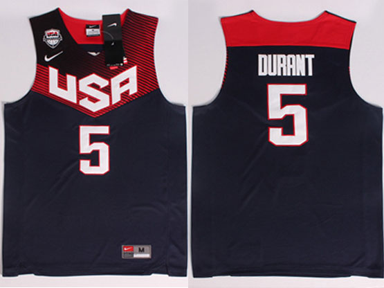 Mens Nba Usa Team 2014 Fiba Basketball World Cup #5 Durant Dark Blue Jersey (p)