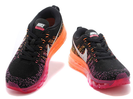 Women    Air Max 2014 Flyknit Running Shoes Color Black&orange&purple