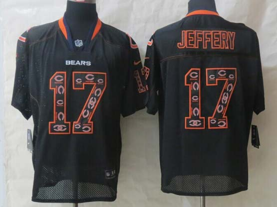 mens nfl Chicago Bears #17 Alshon Jeffery black (2014 team logo lights out) elite jersey