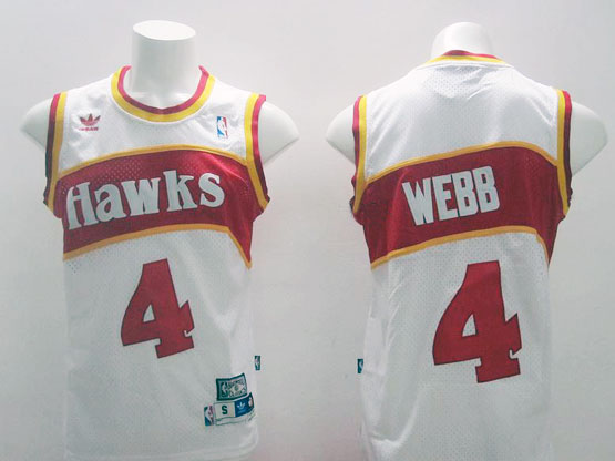 Mens Nba Atlanta Hawks #4 Webb White Hardwood Throwback Jersesy