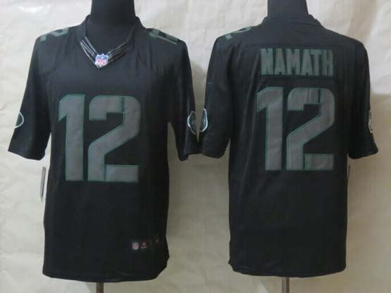 Mens Nfl New York Jets #12 Namath Black New Impact Limited Jersey