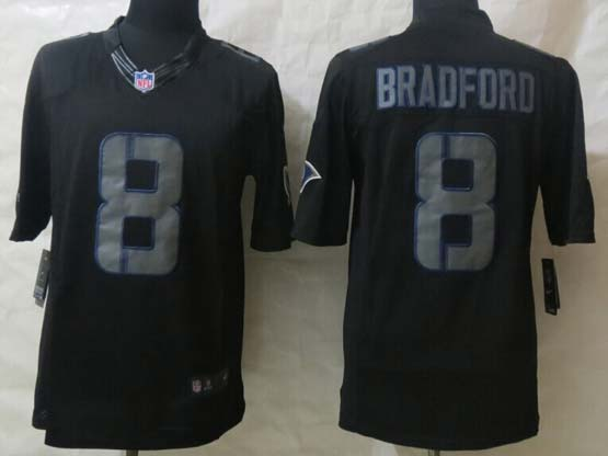 Mens Nfl St. Louis Rams #8 Bradford Black New Impact Limited Jersey