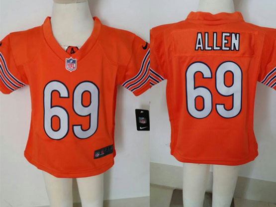 Kids Nfl Chicago Bears #69 Allen Orange Jersey