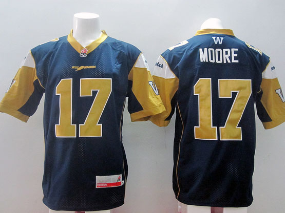 Mens Cfl Winnipeg Blue Bombers #17 Moore Blue Jersey