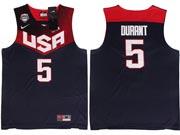 Mens Nba Usa Team 2014 Fiba Basketball World Cup #5 Durant Dark Blue Jersey (p)