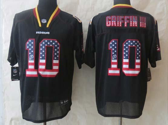 Mens Nfl Washington Redskins #10 Griffin Iii Black (2014 Usa Flag Fashion) Elite Jersey