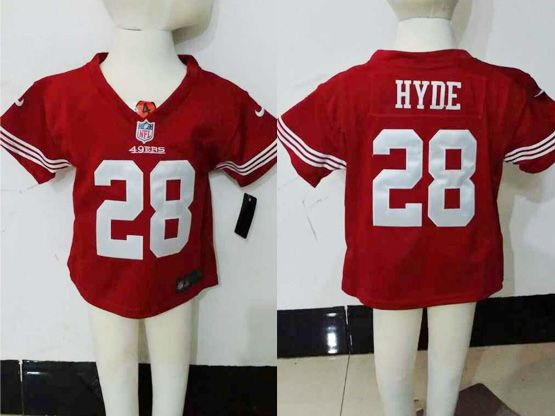Kids Nfl San Francisco 49ers #28 Hyde Red Jersey