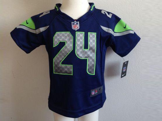 Kids Nfl Seattle Seahawks #24 Lynch Blue Jersey