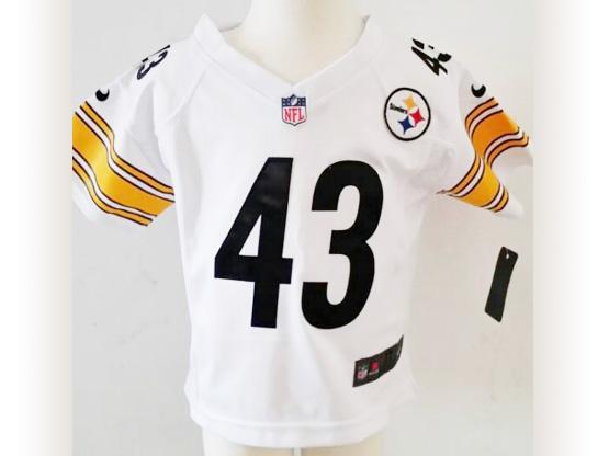 Kids Nfl Pittsburgh Steelers #43 Polamalu White Jersey