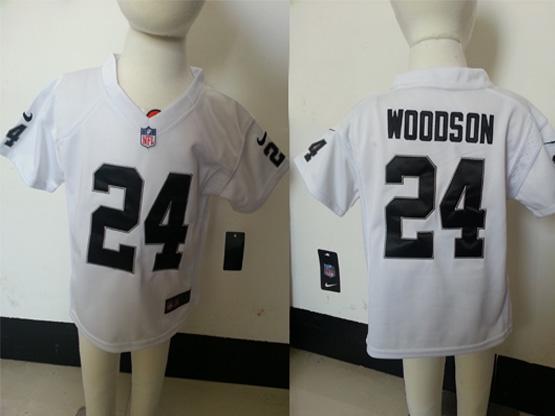 kids nfl Oakland Raiders #24 Charles Woodson white jersey