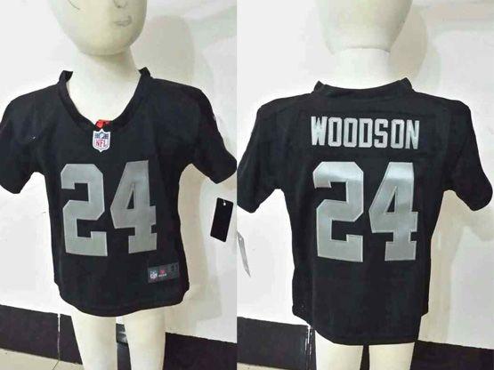 kids nfl Oakland Raiders #24 Charles Woodson black jersey