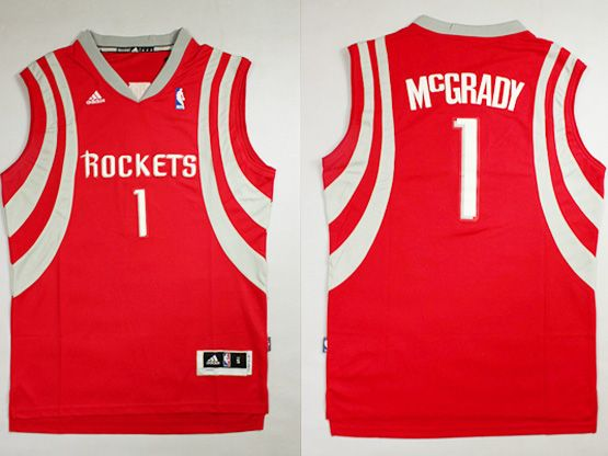 Mens Nba Houston Rockets #1 Mcgrady Red Revolution 30 Jersey (p)
