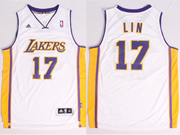 Mens Nba Los Angeles Lakers #17 Lin White Revolution 30 Jersey (p)