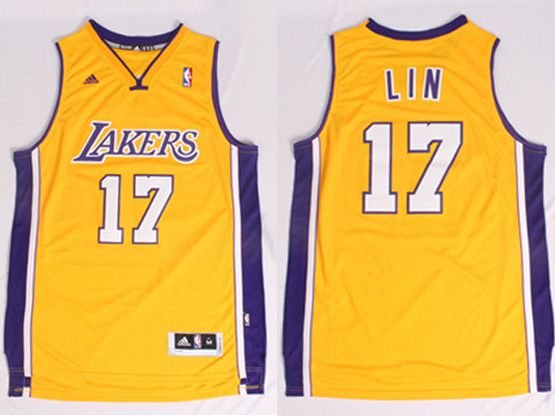 Mens Nba Los Angeles Lakers #17 Lin Gold Revolution 30 Jersey (p)