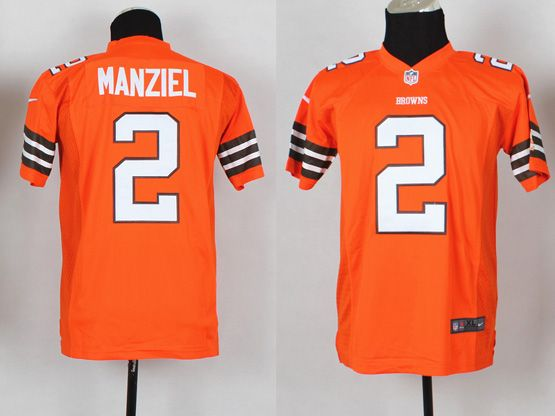 Youth Nfl Cleveland Browns #2 Manziel Orange Game Jersey
