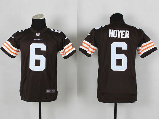 Youth Nfl Cleveland Browns #6 Hoyer Brown Game Jersey
