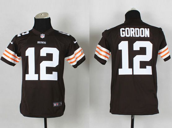 Youth Nfl Cleveland Browns #12 Gordon Brown Game Jersey