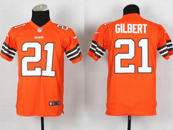 Youth Nfl Cleveland Browns #21 Gilbert Orange Game Jersey