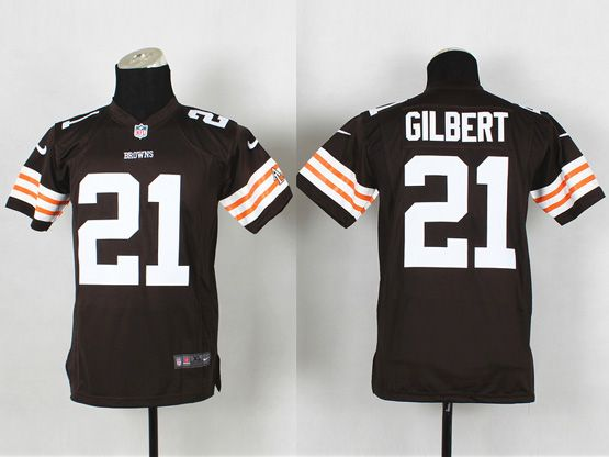 Youth Nfl Cleveland Browns #21 Gilbert Brown Game Jersey