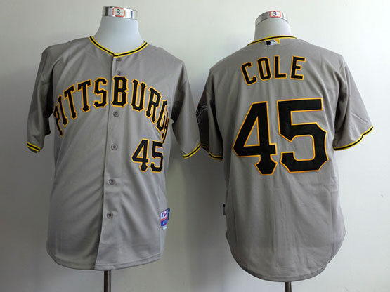 Mens Mlb Pittsburgh Pirates #45 Cole Gray Jersey