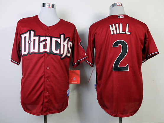 Mens mlb arizona diamondbacks #2 hill red Jersey