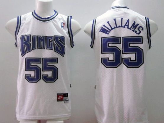 Mens Nba Sacramento Kings #55 Williams White (blue Number) Jersey (m)