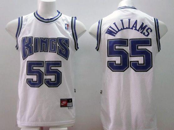 Mens Nba Sacramento Kings #55 Williams White (blue Number) Jersey (m)