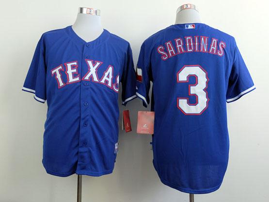 Mens mlb texas rangers #3 sardinas blue Jersey
