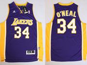 Mens Nba Los Angeles Lakers #34 O'neal Purple Revolution 30 Jersey (p)