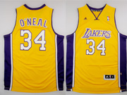 Mens Nba Los Angeles Lakers #34 O'neal Goldrevolution 30 Jersey (p)