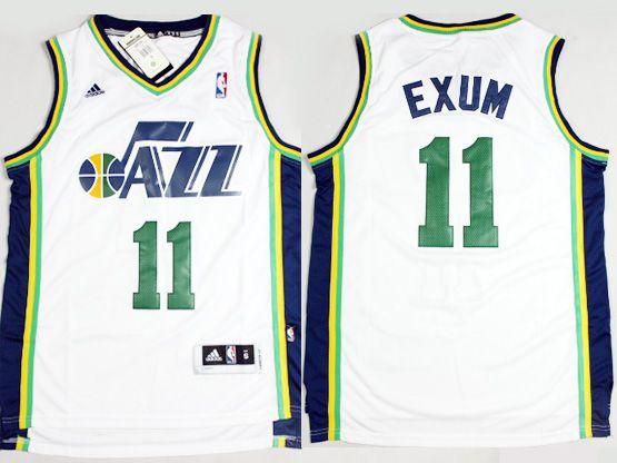 Mens Nba Utah Jazz #11 Exum White Revolution 30 Jersey (p)
