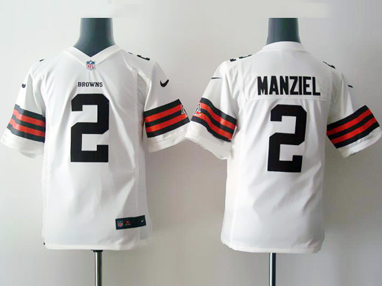 Youth Nfl Cleveland Browns #2 Manziel White Game Jersey