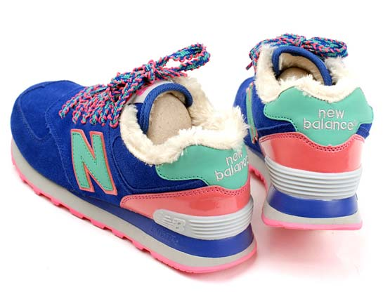 Women  New Balance 574 Running Shoes Color Dark Blue&pin&green