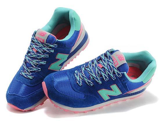 Women  New Balance 574 Running Shoes Color Blue&green&pin