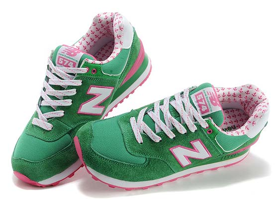 Women  New Balance 574 Running Shoes Color Green&white&pin