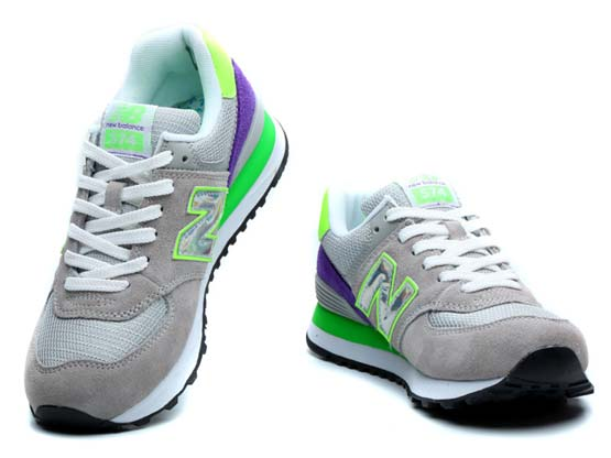 Women  New Balance 574 Running Shoes Color Gray&green&white