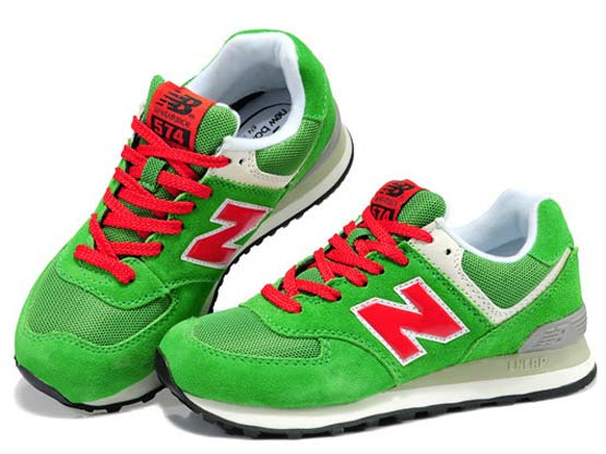 Women  New Balance 574 Running Shoes Color Green&red