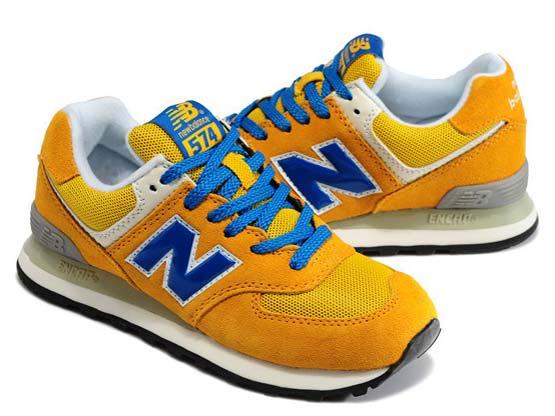Women  New Balance 574 Running Shoes Color Yellow&light Yellow&blue
