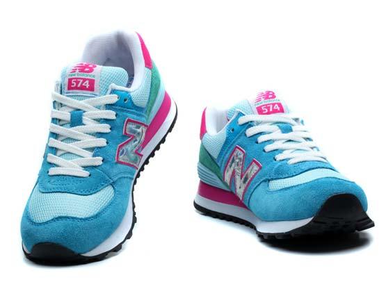 Women  New Balance 574 Running Shoes Color Blue&light Blue&white&pin