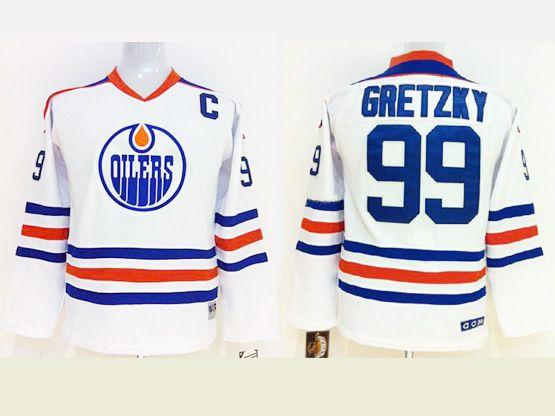 youth reebok nhl edmonton oilers #99 Wayne Gretzky white jersey(dt)
