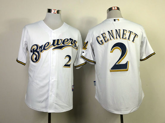 Mens mlb milwaukee brewers #2 gennett white Jersey