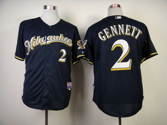 Mens mlb milwaukee brewers #2 gennett blue Jersey