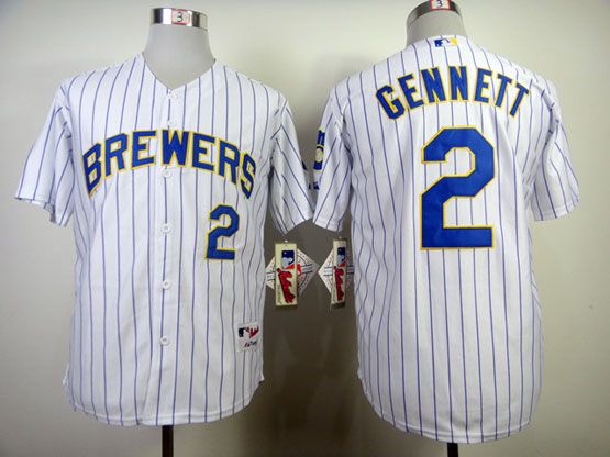 Mens mlb milwaukee brewers #2 gennett white (blue stripe) Jersey