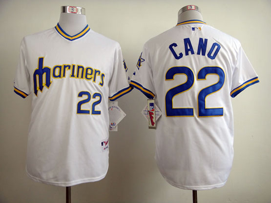 Mens mlb seattle mariners #22 cano 1984 turn back the clock white throwbacks Jersey
