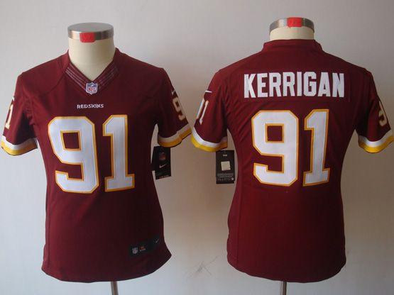 Women  Nfl Washington Redskins #91 Kerrigan Red (white Number) Limited Jersey