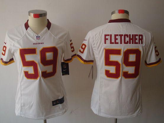 Women  Nfl Washington Redskins #59 Fletcher White Limited Jersey