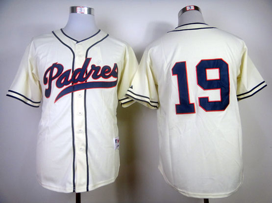 mens mlb san diego padres #19 gwynn 1984 turn back the clock cream Jersey(no name)