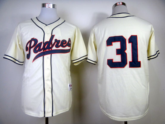 mens mlb san diego padres #31 winfield 1984 turn back the clock cream Jersey(no name)