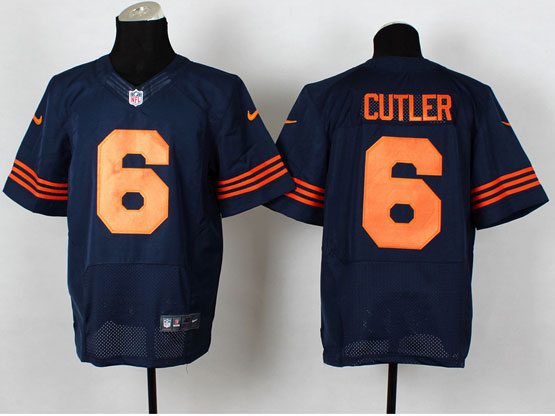 Mens Nfl Chicago Bears #6 Cutler Blue (orange Number) Elite Jersey