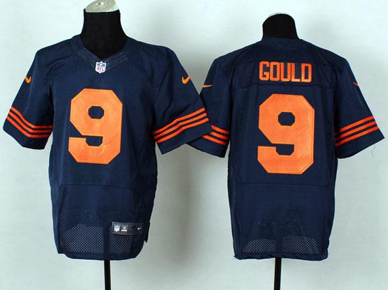 Mens Nfl Chicago Bears #9 Gould Blue (2014 New Orange Number) Elite Jersey